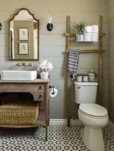 السلم الخشبي لأناقة حمامك